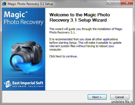 Установка Magic Photo Recovery