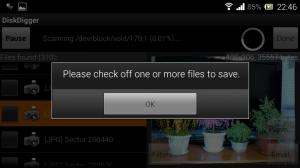 Нужно выбрать файлы для восстановления