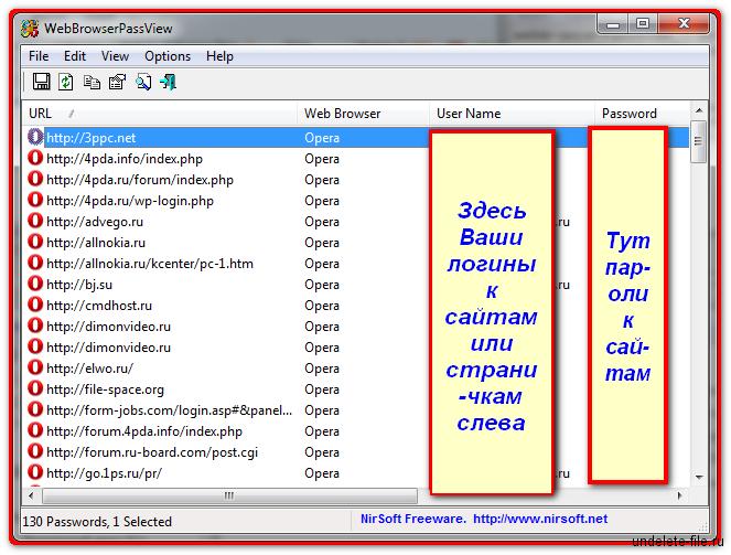 Главное окно программы WebBrowserPassView