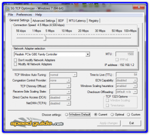 Главное окно TCP Optimizer
