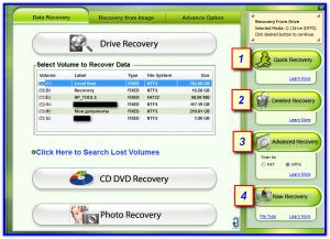 Выбор способа поиска удаленных файлов