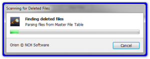 Orion file recovery выполняет поиск файлов