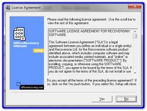 Лицензионное соглашение в утилите OfficeRecovery