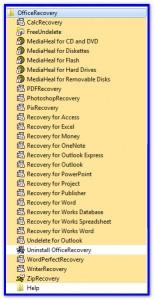 Список установленных программ для восстановления данных