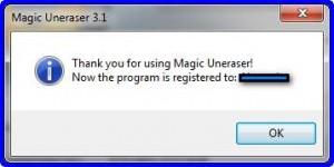 Программа Magic Uneraser успешно активирована