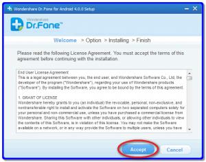 Установка Wondershare Dr.Fone for Android