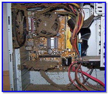 Загрязненный системный блок компьютера