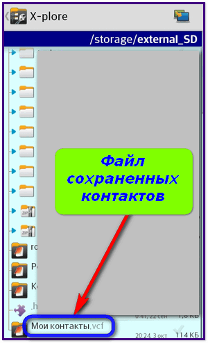File of the stored contacts
