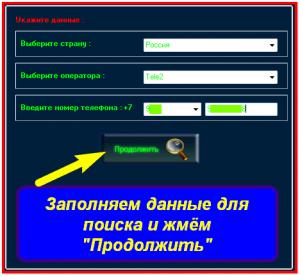 Заполнение данных для поиска абонента