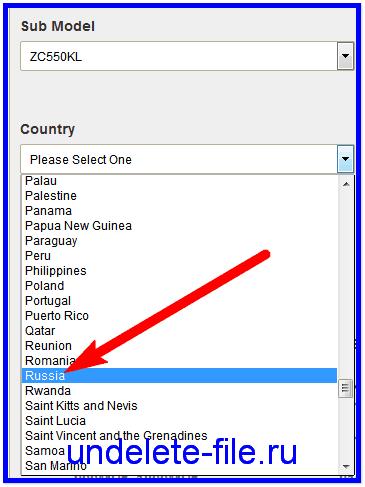 Указываем страну