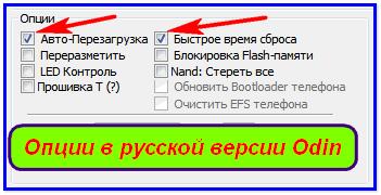 Опции в Odin на русском языке