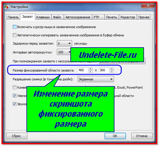 Настройки FastStone Capture