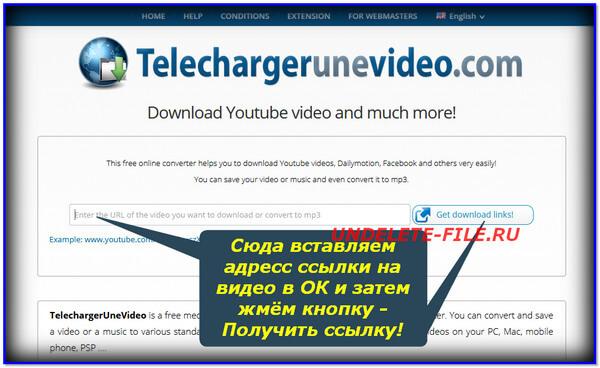 Как скачать видео через сервис Telechargerunevideo?