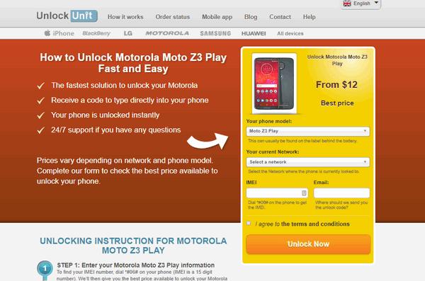 Motorola Moto-Z3 Play product page