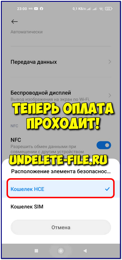 After choosing the HCE wallet - the payment goes through without errors